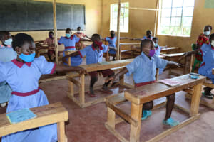 The Water Project: Mukoko Baptist Primary School -  Physical Distancing Check
