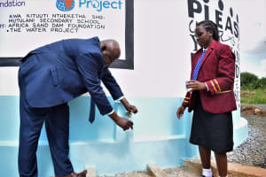 The Water Project: Mutulani Secondary School -  Collecting Water At The New Tank