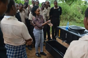 The Water Project: St. Paul Waita Secondary School -  Trainer Demonstrates Handwashing Technique