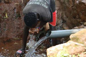 The Water Project: Shikoye Community, Kwa Witinga Spring -  Nelson Taking A Drink