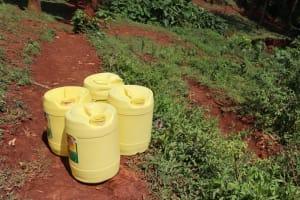 The Water Project: Shikoye Community, Kwa Witinga Spring -  Water Storage Containers