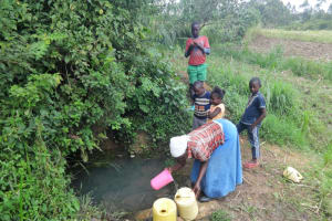 The Water Project: Malimali Community, Onyango Spring -  Collecting Water