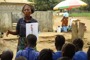 The Water Project: Lungi, New London, #10 Dankama Street -  Hygiene Facilitator Teaching About Bad Hygiene Practices