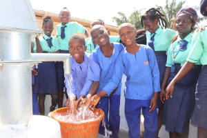 The Water Project: Lungi, Tardi, Khodeza Community School -  Students Splashing Safe Drinking Water