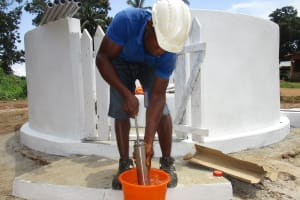 The Water Project: Lungi, Kambia, #6 Bangura St. -  Testing The Cylinder
