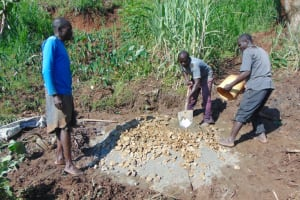 The Water Project: Indulusia Community, Yakobo Spring -  Mortar Mixing