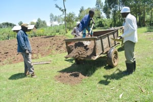 The Water Project: Shitavita Community, Patrick Burudi Spring -  Offloading Sand From An Ox Cart