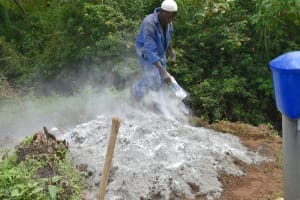 The Water Project: Silungai B Community, Tali Saya Spring -  Mixing Cement
