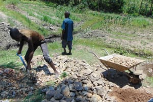 The Water Project: Lukala C Community, Livaha Spring -  Mixing Stones And Sand