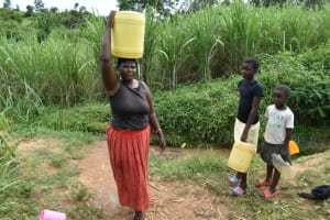 The Water Project: Mundoli Community, Pamela Atieno Spring -  Carrying Water