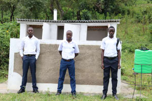 The Water Project: Friends School Shivanga Secondary -  Boys Pose In Front Of Their Latrines