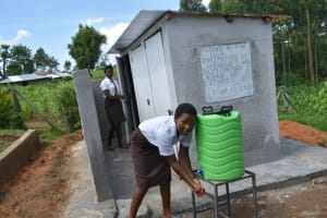 The Water Project: Friends Kisasi Secondary School -  Washing Hands After Visiting The Toilet