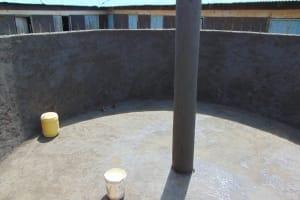 The Water Project: Ivakale Primary School & Community - Rain Tank 1 -  Interior Cement And Pillar Work Underway