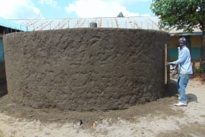 The Water Project: Ivakale Primary School & Community - Rain Tank 1 -  Exterior Cement Work