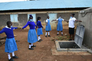 The Water Project: Ivakale Primary School & Community - Rain Tank 1 -  Social Distancing At The Training