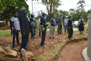 The Water Project: Ivakale Primary School & Community - Rain Tank 1 -  Handing Over Prayers At The Tank Site