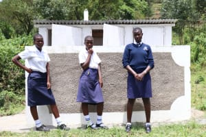 The Water Project: Friends School Shivanga Secondary -  Girls In Front Of Their New Latrines