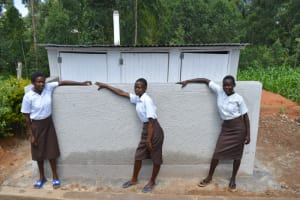 The Water Project: Friends Kisasi Secondary School -  Girls Pose At The Latrine