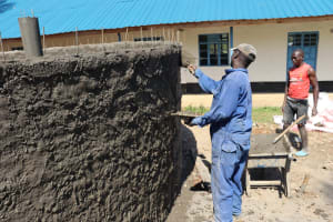 The Water Project: Kinu Friends Secondary School -  Outside Plastering Of The Wall