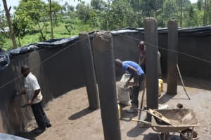 The Water Project: Friends Kisasi Secondary School -  Plaster Works And Pillar Setting