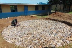The Water Project: Ivakale Primary School & Community - Rain Tank 1 -  Setting Tank Fundation
