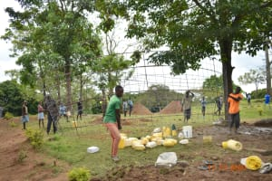 The Water Project: Isango Primary School -  Placing Wire Wall Form