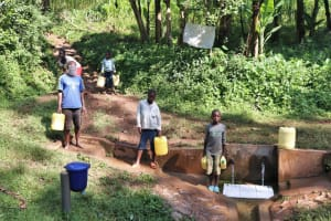 The Water Project: Rosterman Community, Kidiga Spring -  Distancing At The Spring