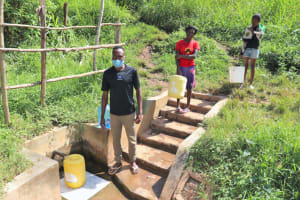 The Water Project: Rosterman Community, Lishenga Spring -  Distancing At The Spring