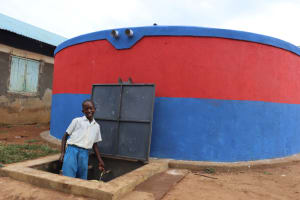 The Water Project: Ivakale Primary School & Community - Rain Tank 1 -  Brian Fetching Water