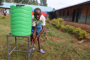 The Water Project: Ivakale Primary School & Community - Rain Tank 1 -  Brian Washing His Hands