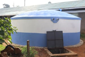 The Water Project: Ivakale Primary School & Community - Rain Tank 1 -  New Rain Tank With Water Flowing
