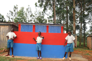 The Water Project: Ivakale Primary School & Community - Rain Tank 1 -  Boys Posing At Their New Latrines