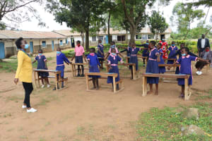 The Water Project: Kapkoi Primary School -  Stretching Out To Ensure Physical Distancing