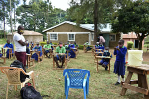 The Water Project: Boyani Primary School -  All Eyes On The Volunteer Handwasher