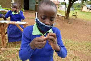 The Water Project: Boyani Primary School -  Following Handwashing Steps Keenly