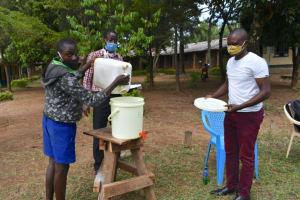 The Water Project: Boyani Primary School -  Refilling Handwashing Station
