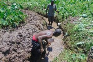 The Water Project: Mahira Community, Anunda Spring -  Drainage Opening