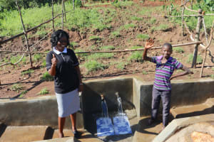 The Water Project: Mahira Community, Anunda Spring -  High Five For Clean Water