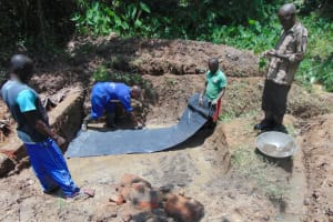 The Water Project: Nguvuli Community, Busuku Spring -  Foundation Work Begins