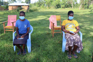 The Water Project: Nguvuli Community, Busuku Spring -  Participants Masked Up And Distanced
