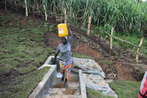 The Water Project: Indulusia Community, Yakobo Spring -  Carrying Clean Water Home