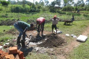 The Water Project: Makale Community, Luyingo Spring -  Mixing Cement