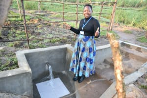 The Water Project: Makale Community, Luyingo Spring -  Field Officer Betty Majani Celebrates The New Spring