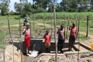 The Water Project: Makale Community, Luyingo Spring -  Thumbs Up At The Spring