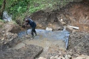 The Water Project: Silungai B Community, Tali Saya Spring -  Foundation Setting