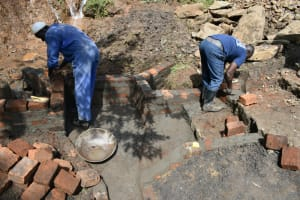 The Water Project: Silungai B Community, Tali Saya Spring -  Wall And Stairs Construction