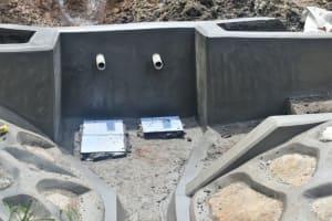 The Water Project: Silungai B Community, Tali Saya Spring -  Tile Setting In Progress