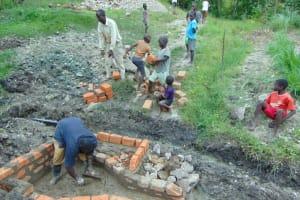 The Water Project: Lukala C Community, Livaha Spring -  Wall Construction
