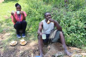 The Water Project: Lukala C Community, Livaha Spring -  Field Officer Christine And Artisan Enjoy A Tea Break