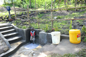 The Water Project: Lukala C Community, Livaha Spring -  Child At Completed Spring